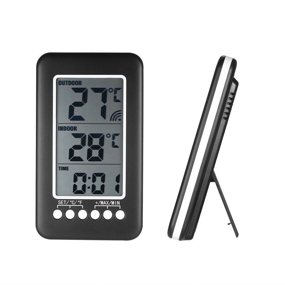 KKmoon - Termómetro digital para interior y exterior (con transmisor inalámbrico, LCD, ℃/℉): Amazon.es: Bricolaje y herramientas