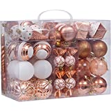 Sea Team 81-Pack Assorted Shatterproof Christmas Ball Ornaments Set Decorative Baubles Pendants with Reusable Hand-held Gift Package for Xmas Tree (Copper)