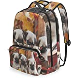 SLHFPX Women/Men Bookbag Autumn Leaves Cute Pug Puppy Dog Backpack for College School Students