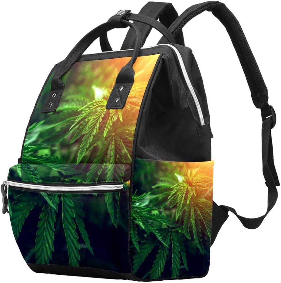 Bennigiry Marihuana - Bolsa de pañales con diseño de hojas de marihuana borrosas y cannabis