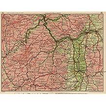 RHINE VALLEY. Coblenz Frankfurt Wiesbaden Mannheim Worms Darmstadt - 1933 - old map - antique map - vintage map - Germany maps
