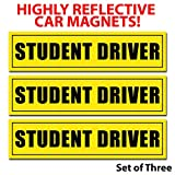 wall26 Reflective Student Driver Magnetic Car Signs(Set of 3) Safety Caution Sign