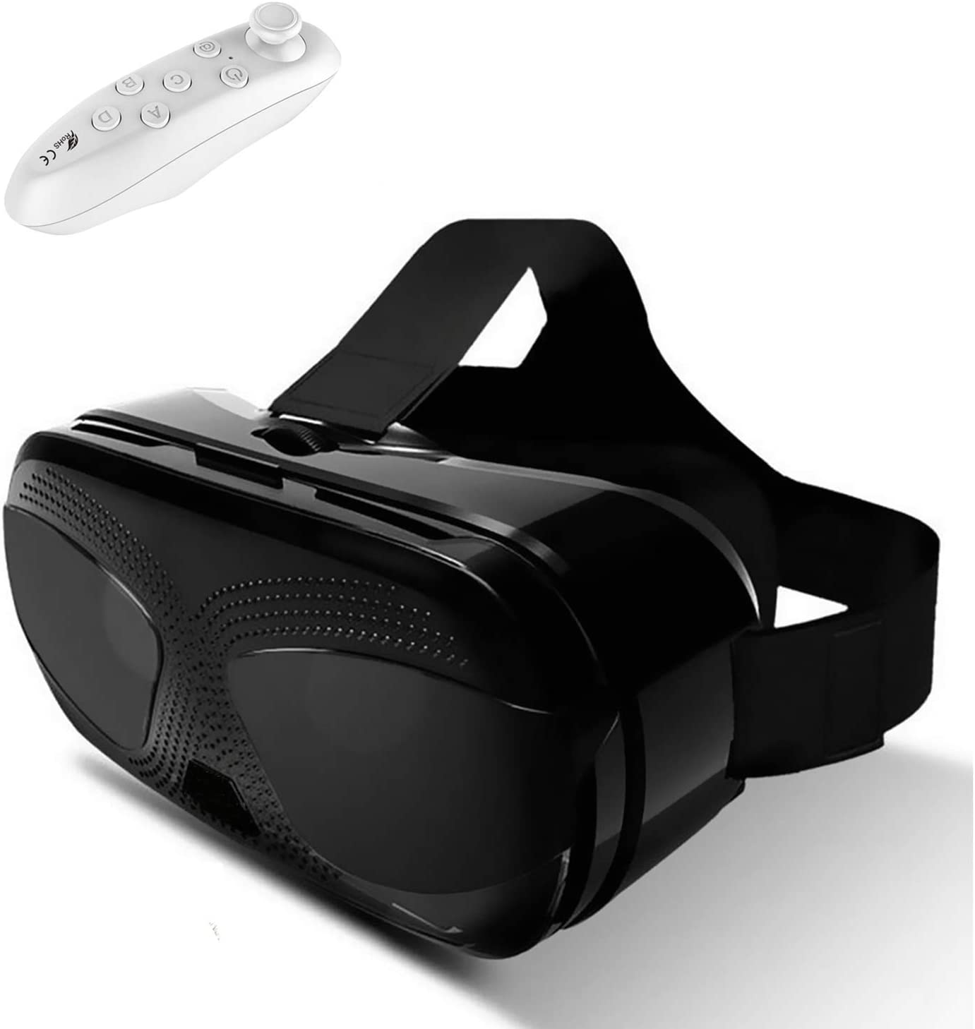 Virtual Reality Headset, 3D VR Goggles w/Remote Controller[Gift] 3D Movies Video Games Viewer for iPhone 11 Pro XR XS X 8 7 6S 6 Plus Samsung S10 S9 S8 S7 S6 Edge + BLU A4 R2+ etc, Black VR Glasses