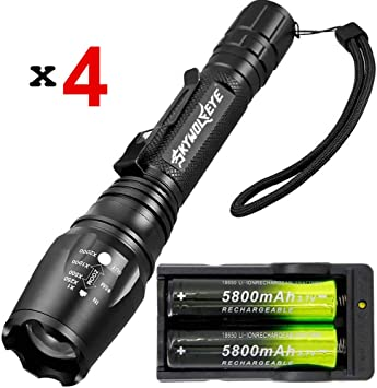 2 Pack Tactical Zoomable 20000LM 3 Mode T6 LED Flashlight Torch Lamp 18650 Light