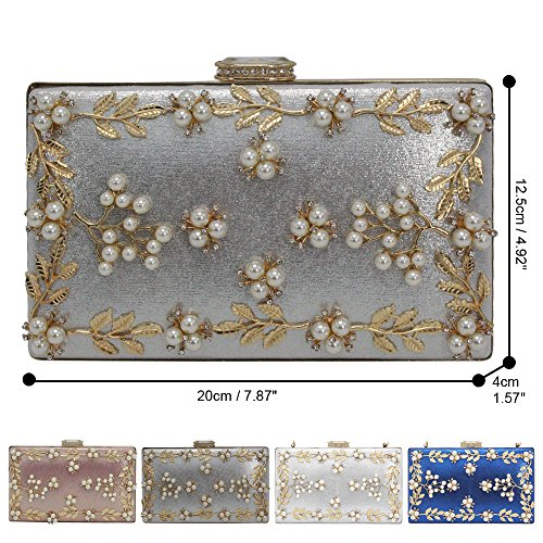 Party Flower Ladies Purses Clutches Beaded Female Wedding Handbag Wallet Wocharm Silver OBExwqw