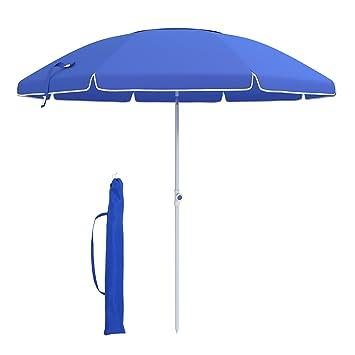 SONGMICS Sombrilla, Parasol para playa, Diámetro de 210 cm, Protección solar, Octagonal