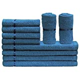 Story@Home Sensational Solid 10 Piece 450 GSM Cotton Face Towel Set - Navy Blue