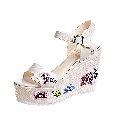 c8ce601190d60 OHQ Poisson Bouche Cale Femmes Sandales Chaussures Noir Beige Rose Peep Toe  Plate-Forme Talons Hauts Wedge Lace Slope National Style Femme Ville Cuir  ...