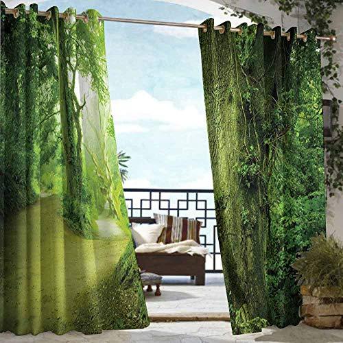 VIVIDX Grommet Outdoor Curtains,Fairy,for Patio/Front Porch,W72x84L Green