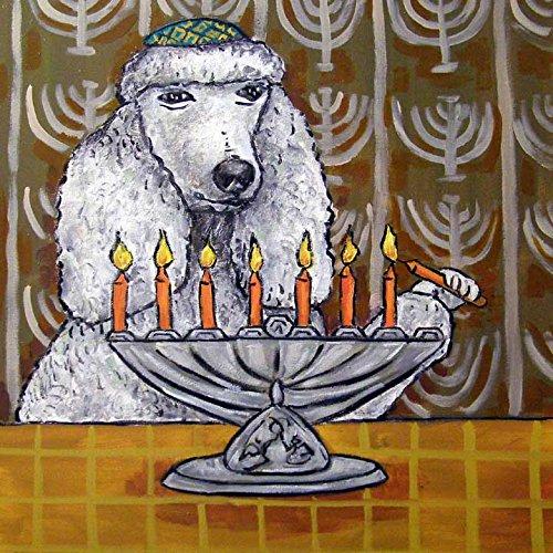 Poodle Menorah Hanukah Dog art tile coaster gift (Hanukah Gift)