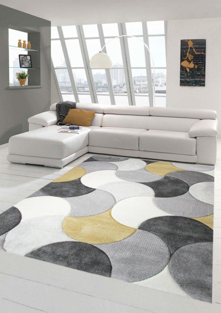 Tapis design et moderne à poil ras court pas cher avec motif de gouttes en jaune gris beige Größe 120×170 cm