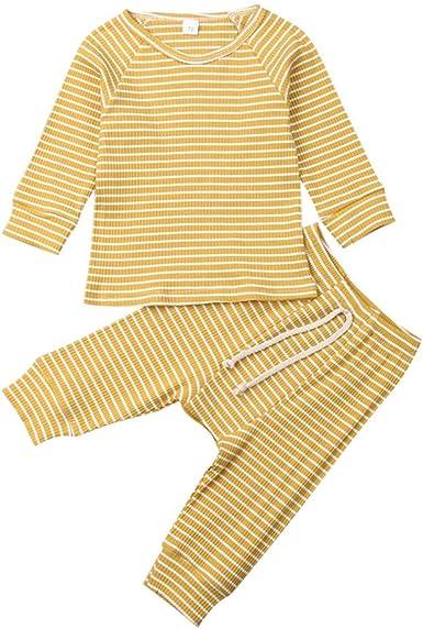 Conjunto de Pijama de Manga Larga + Pantalones a Rayas para bebé ...