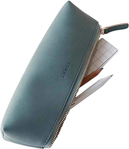 Fyore - Estuche de piel de lujo, diseño delgado con cremallera metálica, tamaño de bolsillo para bolígrafo y brocha de maquillaje, color azul 20*5*4.4cm: Amazon.es: Oficina y papelería