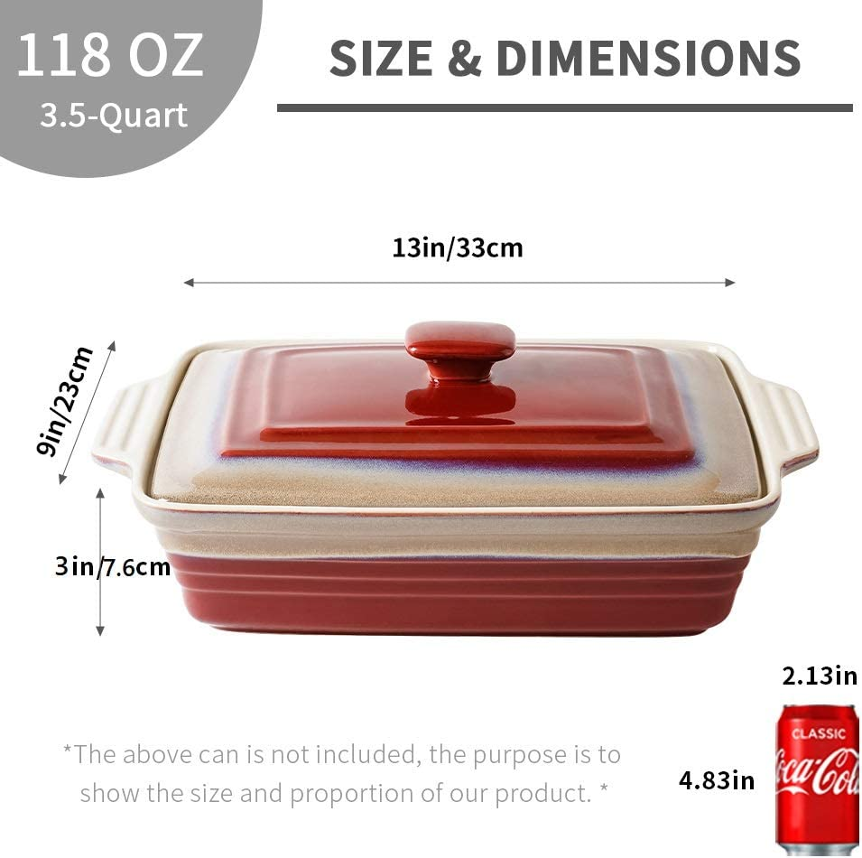 9 x 13 Inches Kitchen Wrapping Upgrade Covered Casserole Dish with Lid KOOV Ceramic Casserole Dish Set Rectangular Lasagna-Pans for Cooking Rocky Red Baking dish With Lid for Dinner