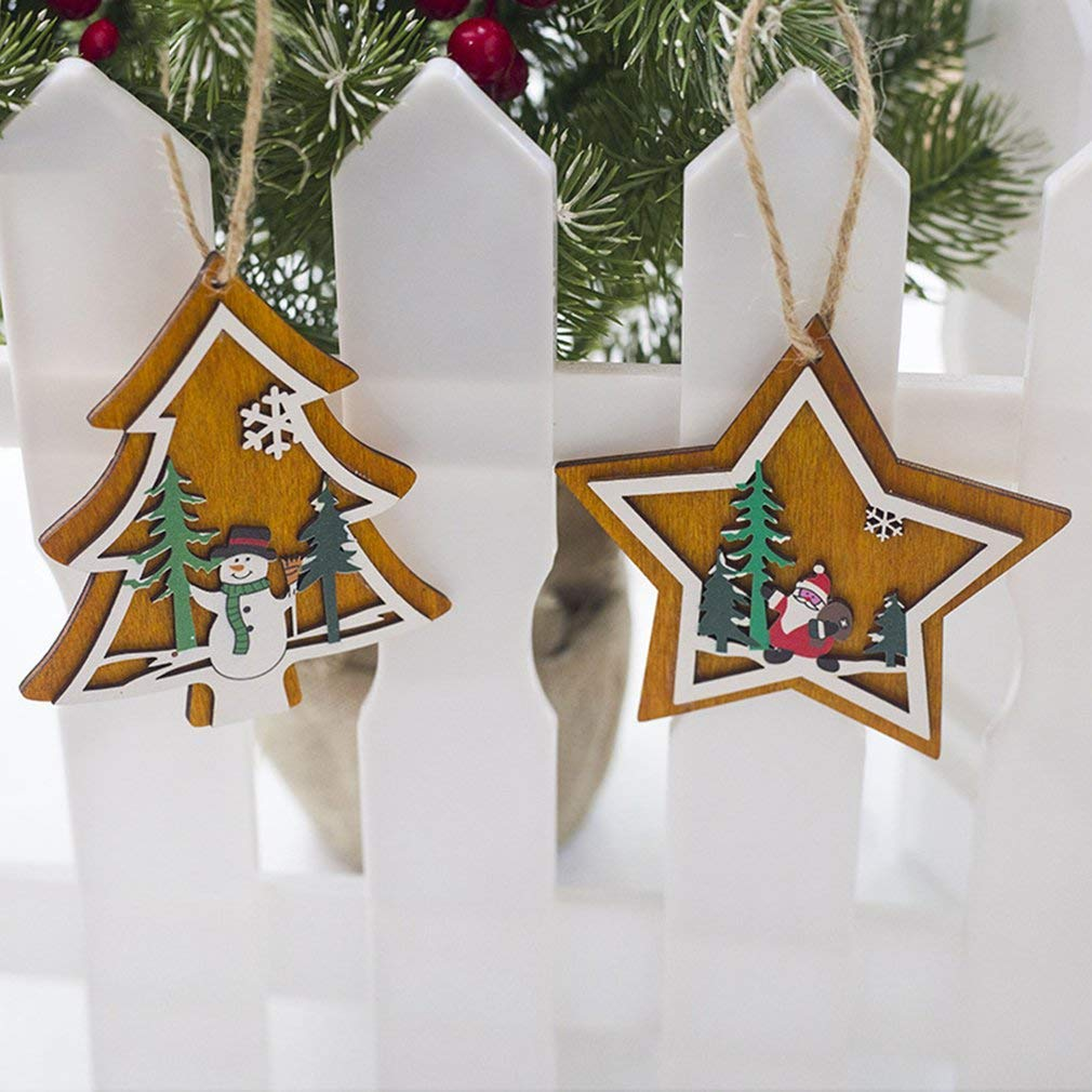 Tcplyn Premium Quality Christmas Decoration Christmas Creative Wooden Pentagram Pendant Christmas Tree Painted Decoration Tag