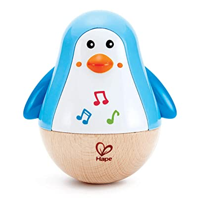 Hape Penguin Musical Wobbler   Colorful Wobbling Melody Penguin, Roly Poly Toy for Kids 6 Months+: Toys & Games