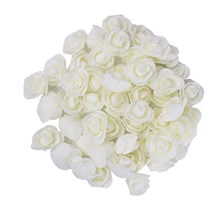 Lianle 50pcs Rose Tete De Fleur Artificielle Rose Bourgeons