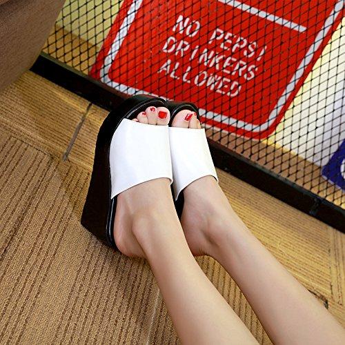 Grueso 40 Elegante Blanco Y Ocio KPHY En Con El Antideslizante Con Sandalias Zapatillas Bizcocho Desgaste Alto Soltar Arrastrar Mujeres Tacón Verano De Colombo znqFd1