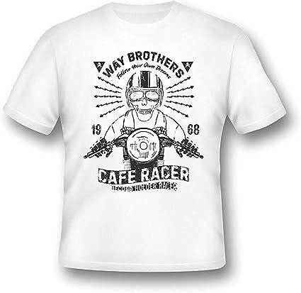 Lado Brothers Cafe Racer Camiseta, Hombre, Moto, Motero, Retro, Regalo, Clásico, 6 - Blanco, XXX Large 54