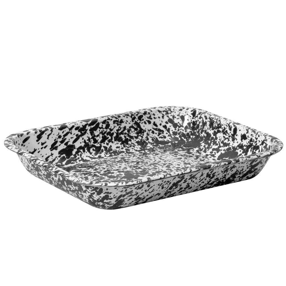 Enamelware Large Roasting Pan - Black Marble