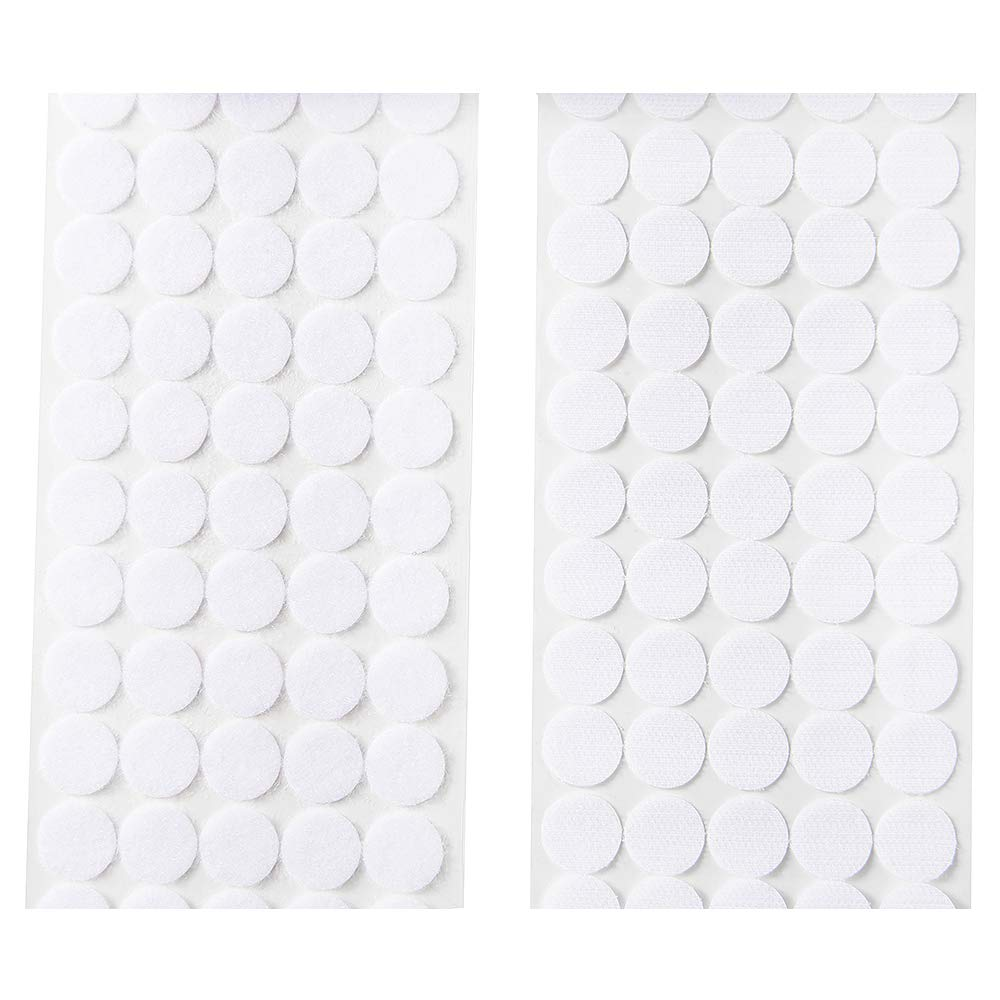 Heze 1000pcs(500 Pair Sets) 3/4'' Diameter Sticky Back Coins Hook & Loop Self Adhesive Dots with Waterproof Sticky Glue Coins Tapes (White) by Heze (Image #4)