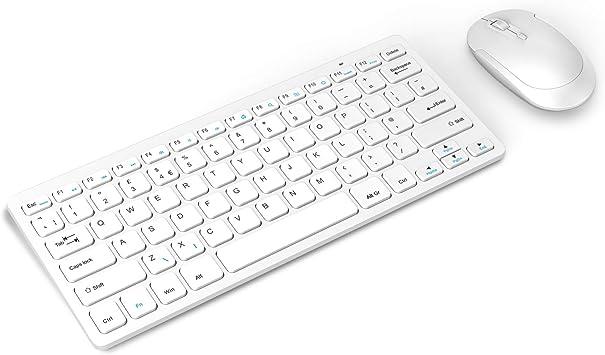 Jelly Comb Combo de teclado y ratón ultra delgado, teclado inalámbrico de 2.4 G y ratones inalámbricos con receptor USB QWERTY Reino Unido para PC, ...
