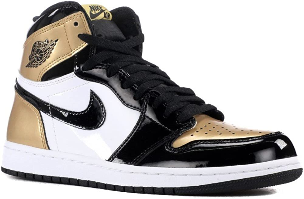"Nike Mens Air Jordan 1 Retro High OG NRG Top 3"" Black/Metallic Gold Leather Size 11.5"