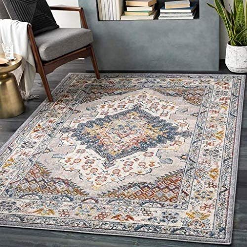 Haymond 8 10 x 12 Rectangle Traditional 100 Polypropylene Medium Gray Taupe Pale Blue Teal Cream Burnt Orange Lime Charcoal Area Rug