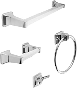 """SENTO Balley Classic Bathroom Accessories Set, Heavy Duty Metal Bath Hardware Set Wall Mounted, Includes Robe Hook, Standard Toilet Paper Holder, Towel Ring, 24"""" Towel Bar (4-Piece, Polished Chrome)"""