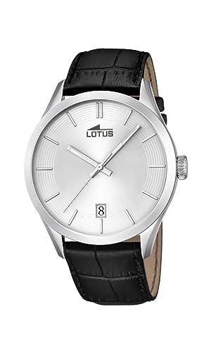 Lotus - Reloj analógico con Mecanismo de Cuarzo para Caballero con Pantalla Plateada y Correa de Piel Negra 18111/1.: Amazon.es: Relojes