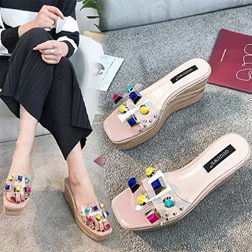 Fiesta 2019 Yan De Noche Altos Las Sandalias Tacones 39 Moda Verano Mujeres Zapatillas Zuecos A Y Alto Cuñas Zapatos a Tacón Mulas Transparentes 5UgrqYxg