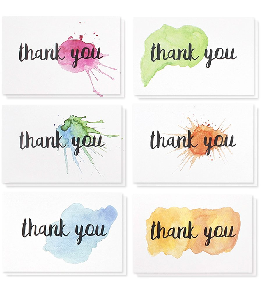 Juvale Thank You Cards - 48-Count Thank You Notes, Bulk Thank You Cards Set - Blank on The Inside, 6 Watercolor Splash Designs - Includes Thank You Cards Envelopes, 4 x 6 inches