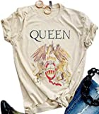 Queen T-Shirt Vintage Freddie Memorial Day Graphic Tees Cute Short Sleeve Tops