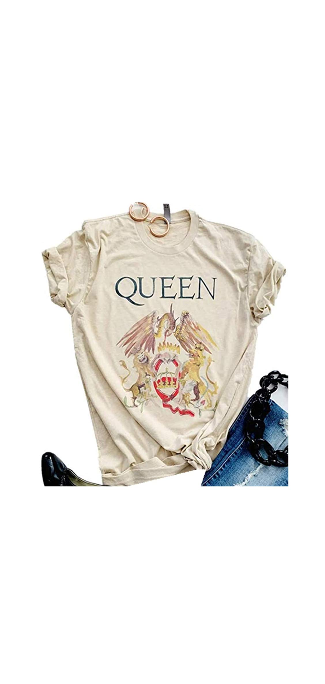 Queen T-shirt Vintage Freddie Memorial Day Graphic Tees Cute