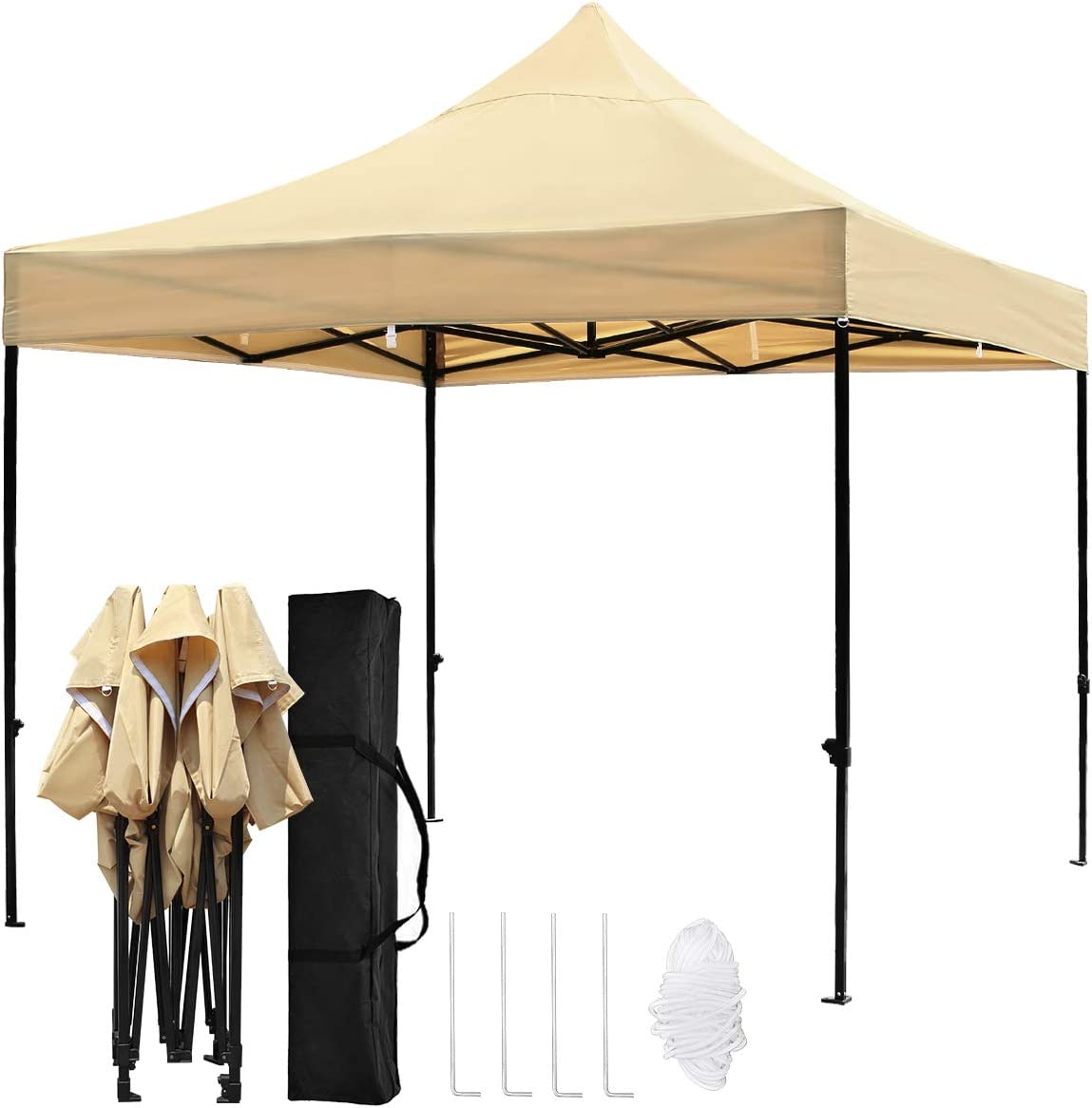 TopCamp 10x10ft Pop up Canopy Tent, Shade for Beach Heavy Duty Waterproof Outdoor Commercial Tents Instant Sun Shelter Tan 10 x 10 EZ
