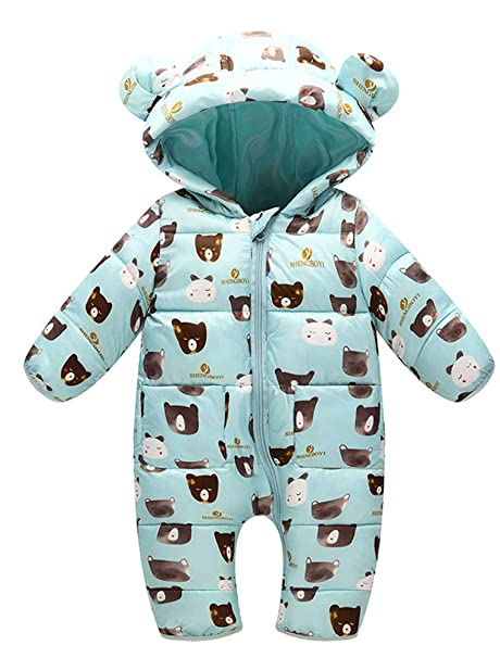 fee6802e9cdf6 ARAUS Newborn Baby Snowsuit Boy Girl Hooded Down Jumpsuit Winter Romper  Clothes 3-12 Months  Amazon.co.uk  Clothing