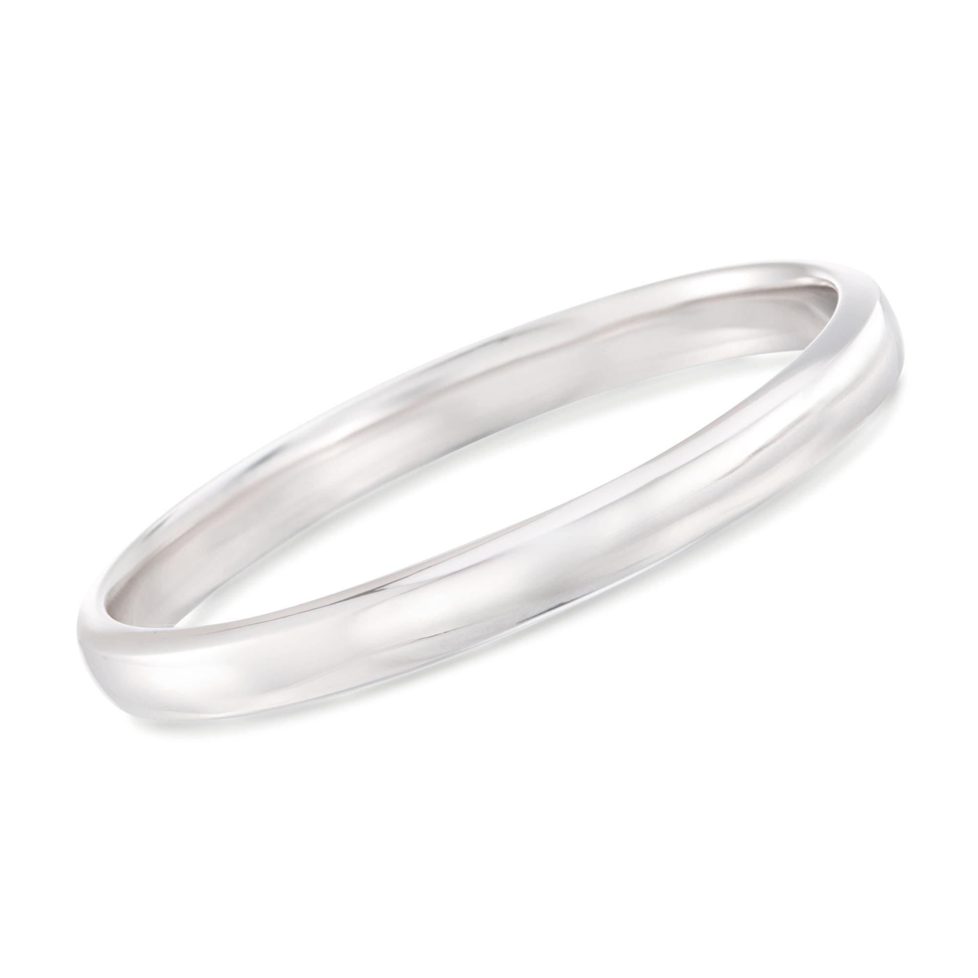 Ross-Simons 14kt White Gold Polished Bangle Bracelet