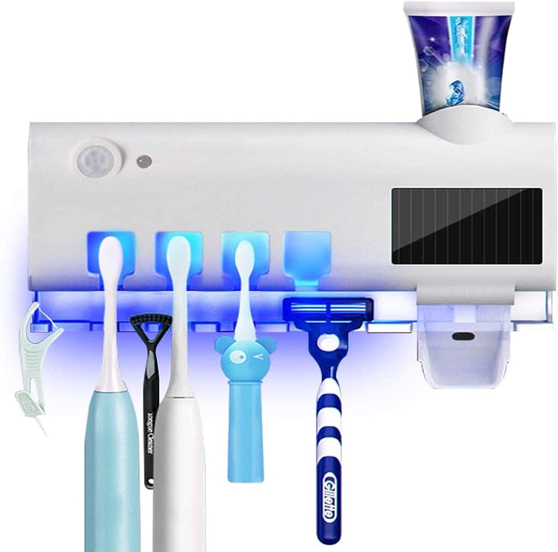 Portacepillo de Dientes Eléctrico Esterilizador UV Soporte con Energía Solar Recargable Función, Dispensador de Pasta de Dientes Soporte de Pared Accesorios de Baño, 4 Ports