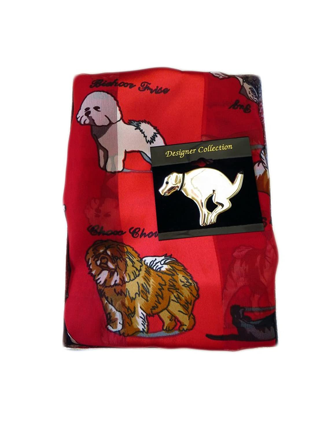 Bundle - 2 Items: Dog Breeds Scarf and Dog Pin Brooch - Red