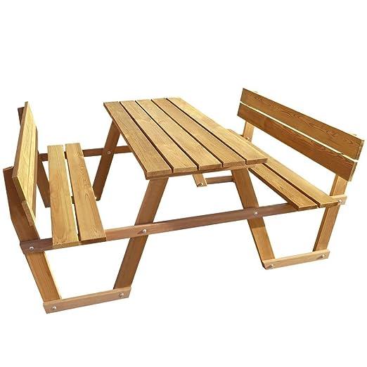Anself – Mesa de picnic banco con respaldo (madera de pino para ...