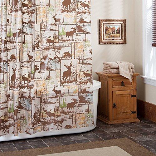 (PEVA Deer Moose Shower Curtain Hunting Rustic Lodge Cabin Northwoods Brown)