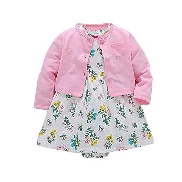Feixiang Conjunto de Ropa para niños Vestido Floral de niña recién Nacida + Chaqueta de Abrigo de Color sólido Vestido de Traje Conjunto Negro Cinco Cyber ...