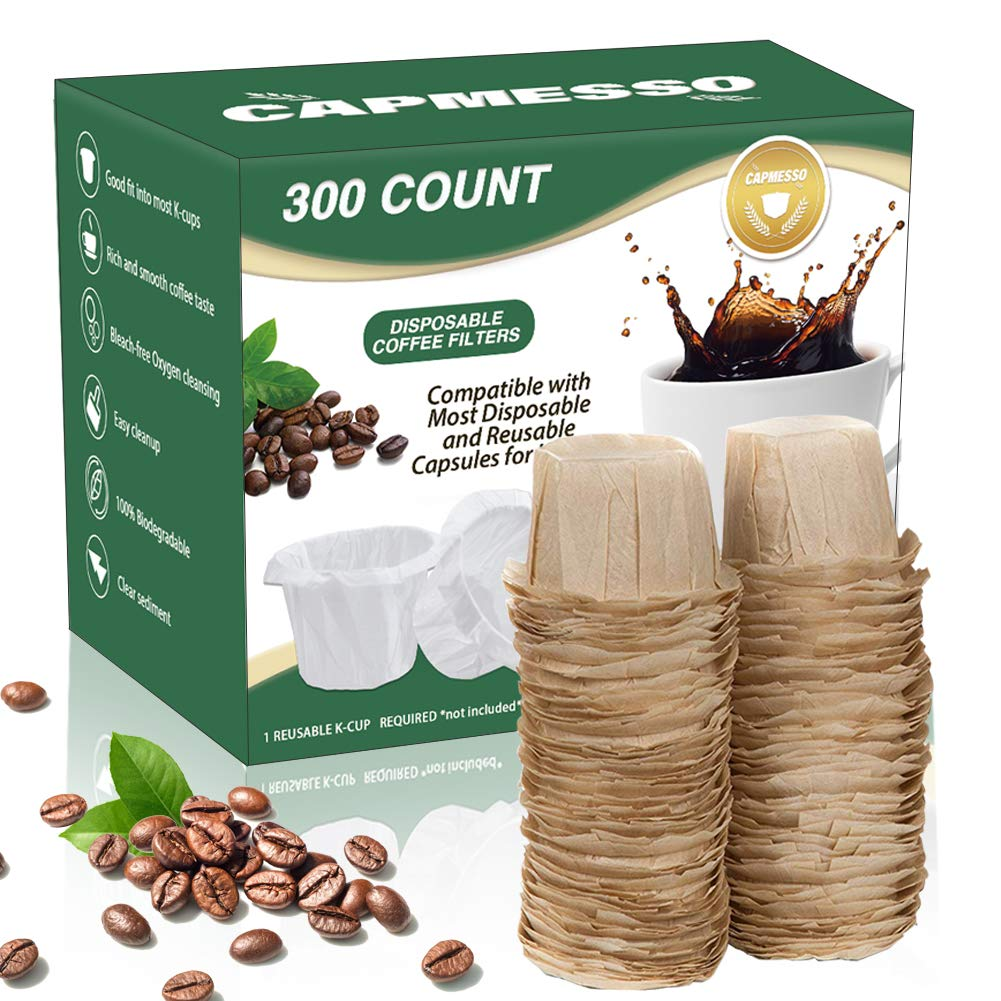 CAPMESSO Disposable Coffee Filters Replacement Keurig Paper Filter for Reusable Single Serve K Series Pods Keurig Coffee Maker- 300 Count (Natural)