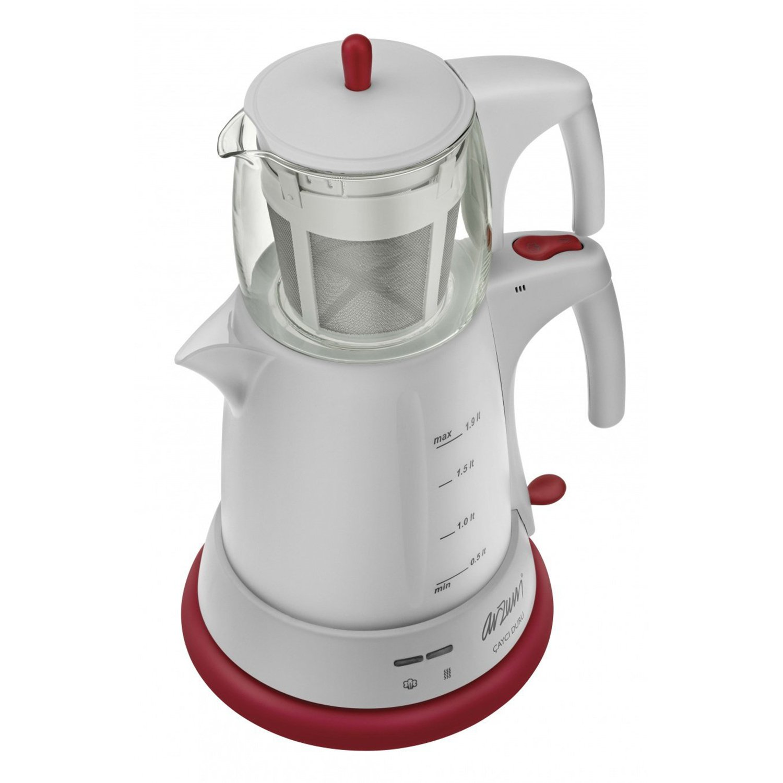 Arzum Elektrische Moderne Teemaschine Frischer-Tee Wasserkocher Glaskanne 1650W, Farbe:Weiß