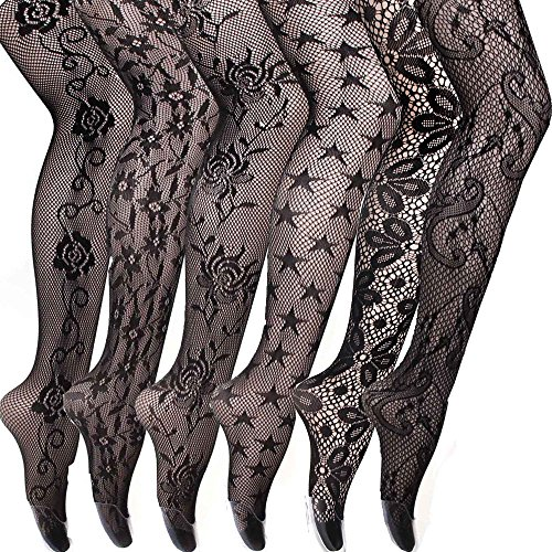 Design Fishnet (Women's Sexy Fishnet Pantyhose Sheer Lace Stocking Tights Control Top Reinforced Toe Silk Sexy Panty Hose (6pairs E))