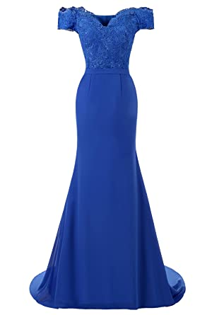 La Vogue Off Shoulder Long Evening Prom Dresses Chiffon Wedding Party Gowns US 2