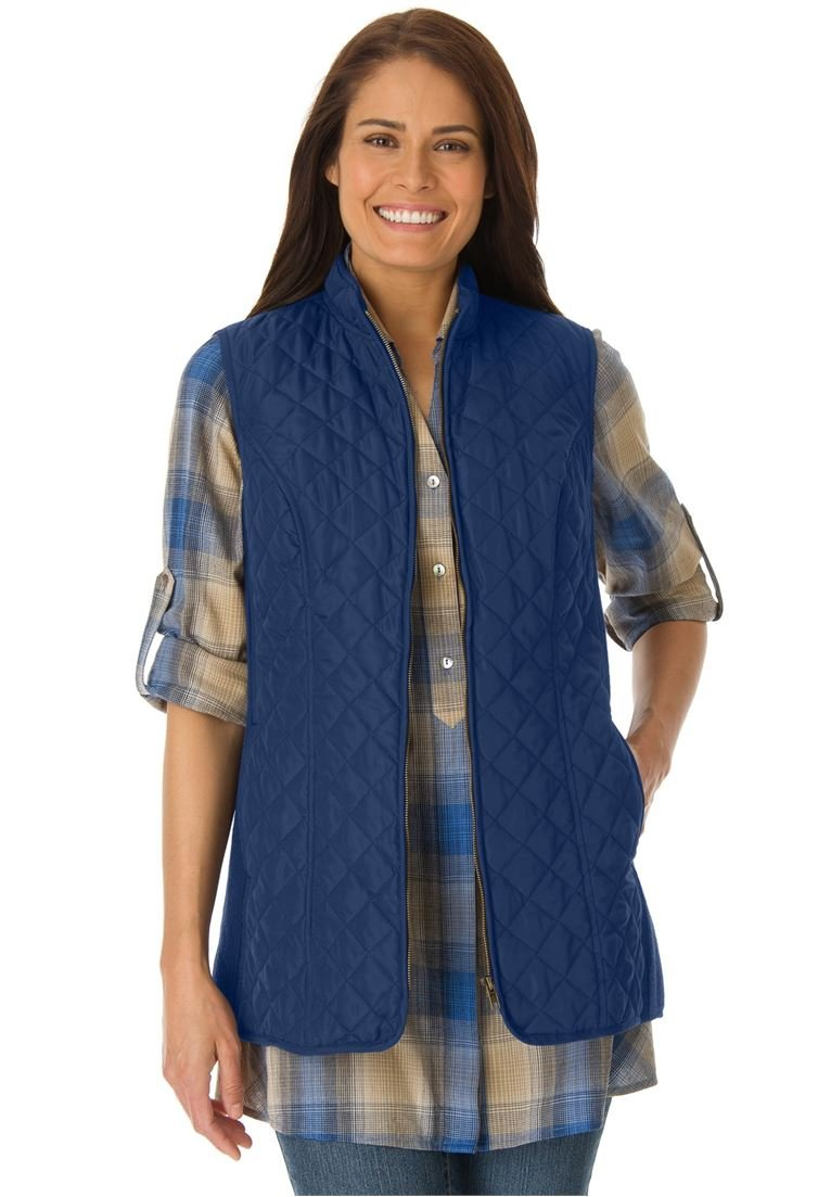 Woman Within Women's Plus Size Diamond-Quilted Zip Front Vest