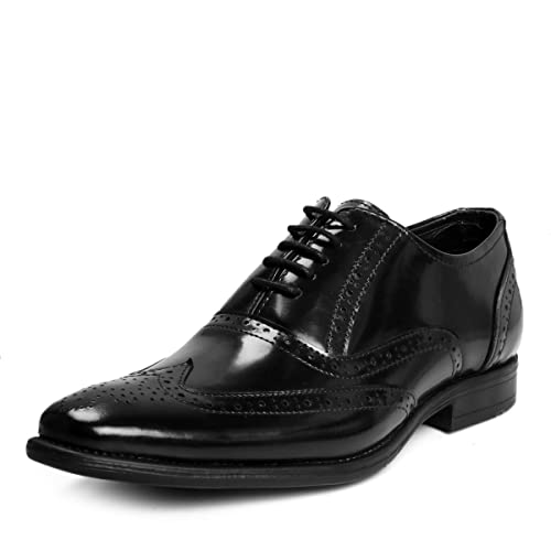 75071818cf8 Bacca Bucci Men s Black Glossy BlackLeather Smart Brogues Formal Dress Shoes  ...