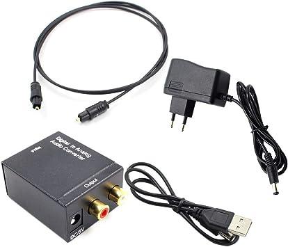 Adaptador de convertidor de Audio Toslink óptico y coaxial R/L ...