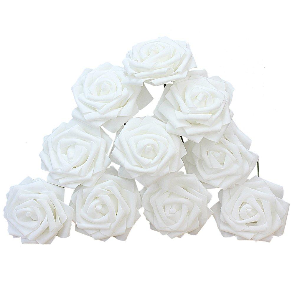 ReFaXi 10個入りホワイト人工スポンジバラの花ウェディングブーケホーム装飾 B07F6YR4QR